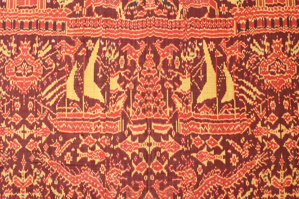 Silk ikat ships cloth, Cambodia, late 19th century.
