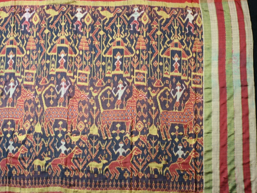 Silk ikat pidan, altar hanging, Cambodia, 19th century, other end.