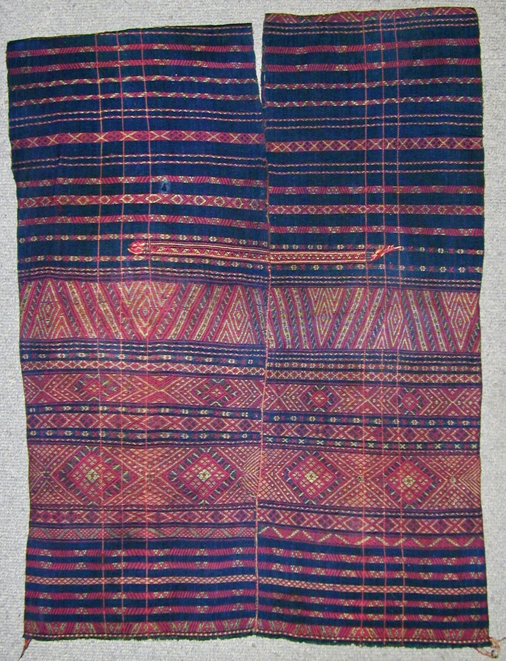 Chin man's cotton and silk tunic, Burma, circa 1900.