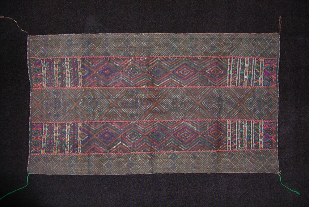 Chin cotton and silk breast cloth, Burma, early to mid 20th century.