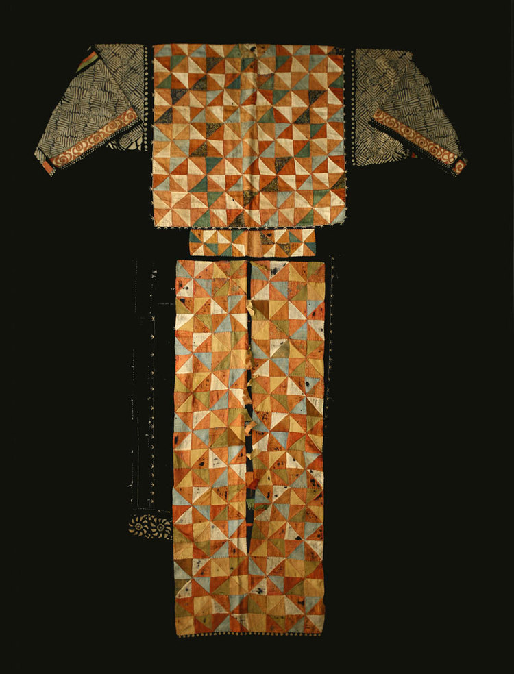 Yi silk and cotton robe, Yunnan, China, late 19th century.