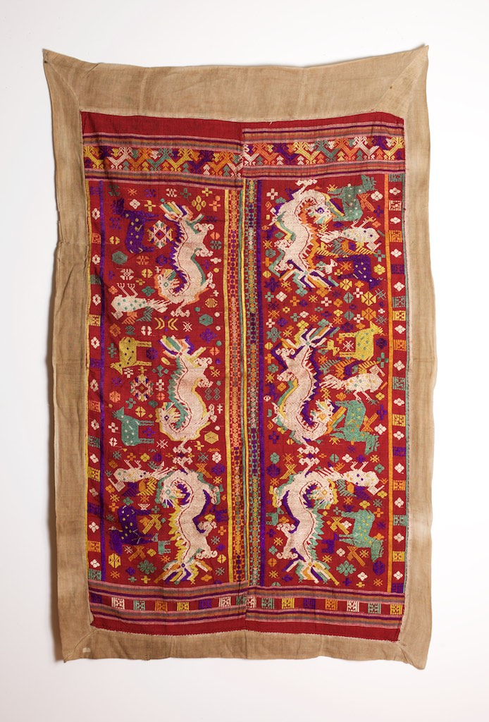 Tai silk and cotton blanket or hanging, northern Laos, circa 1900.