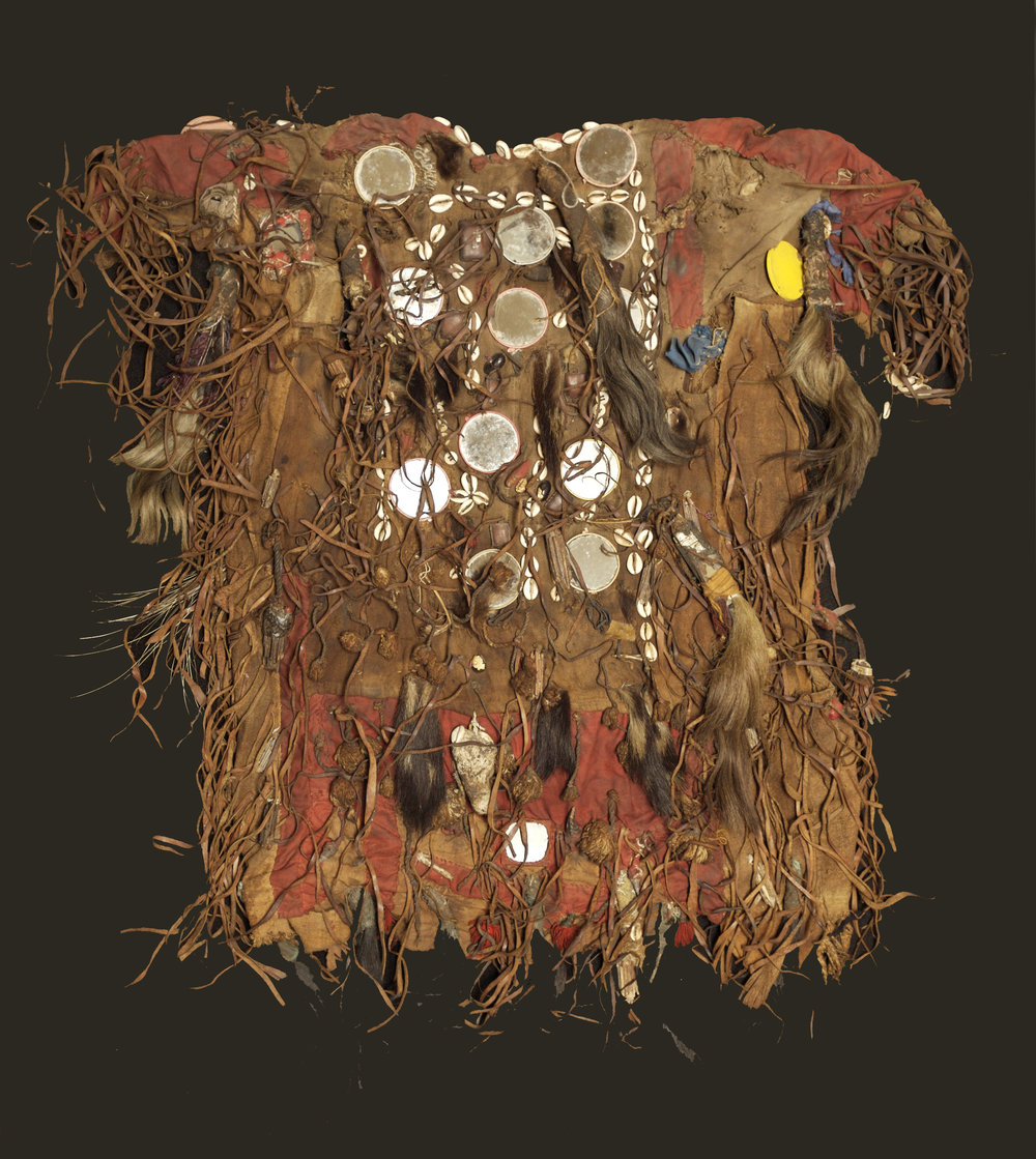 Ethiopian medicine man's hide shirt with amulets, mid 20th century.