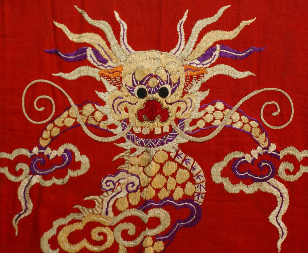 Dao Quan Chet priest's vestment, Vietnam, early to mid 20th century, detail.
