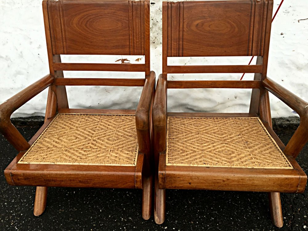 Pair of Anglo-Burmese teak wood chairs, circa 1930s.