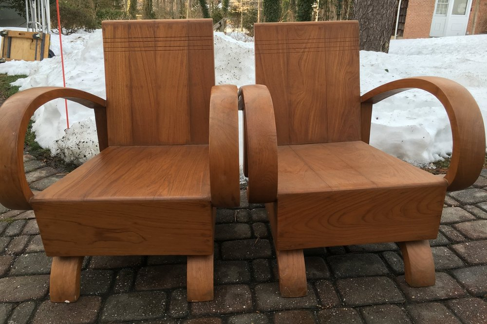 Pair of teak wood chairs, Siam, circa 1930s.