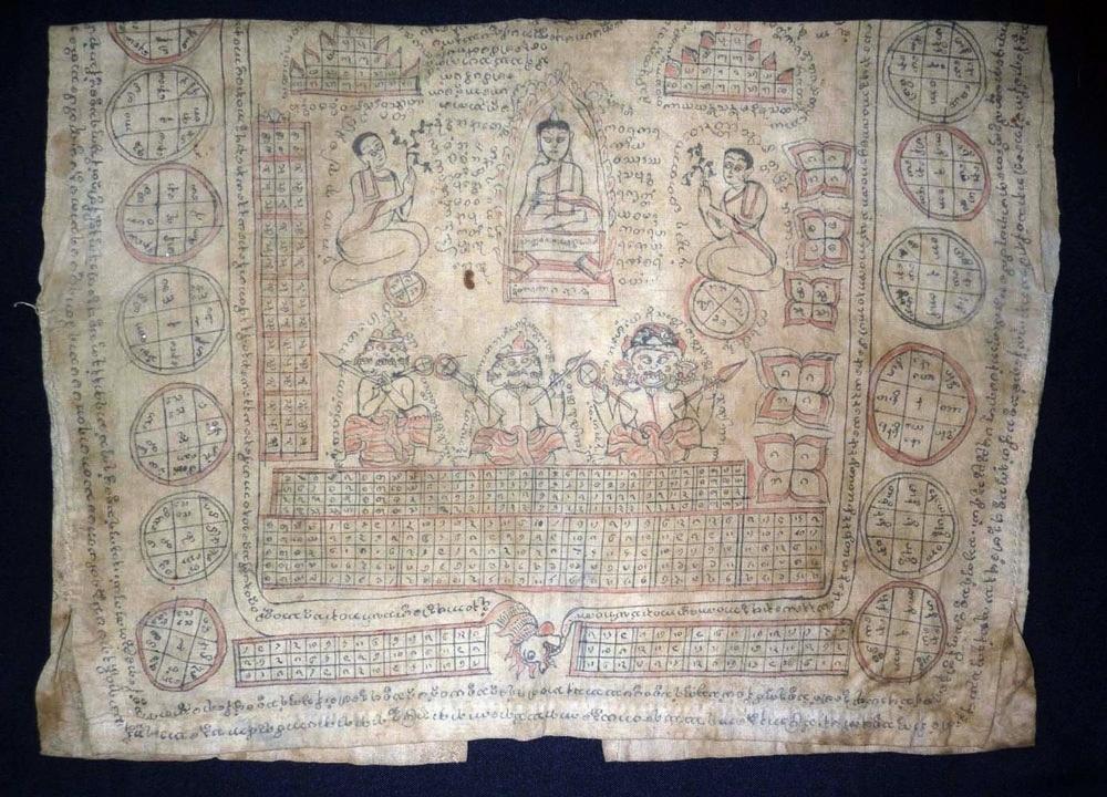 Protective cotton yantra undervestment, Burma/Lanna, circa 1900.
