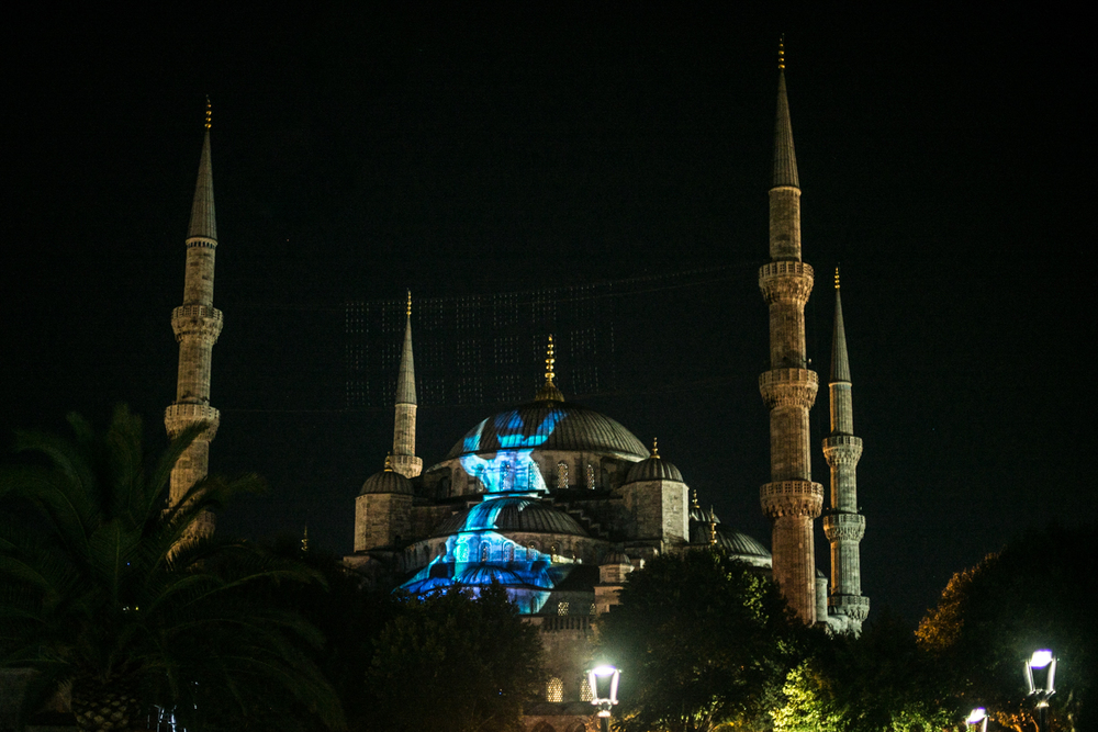 The Blue mosque under a light show.