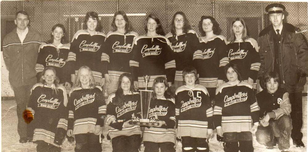 My first hockey team.  Can you find me?  My dad and my brother are also in the photo