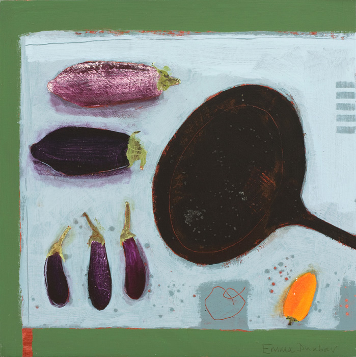 Aubergines, Pan, Yellow Pepper