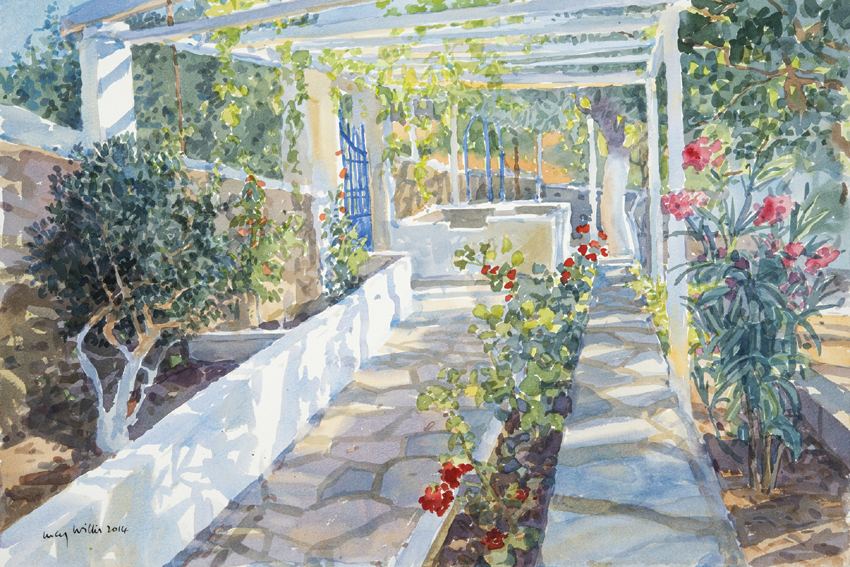 Garden Path with Oleanders, Greece