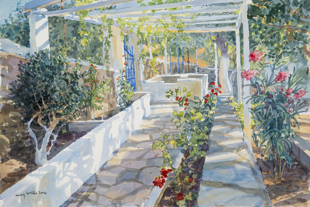Garden Path with Orleanders, Greece
