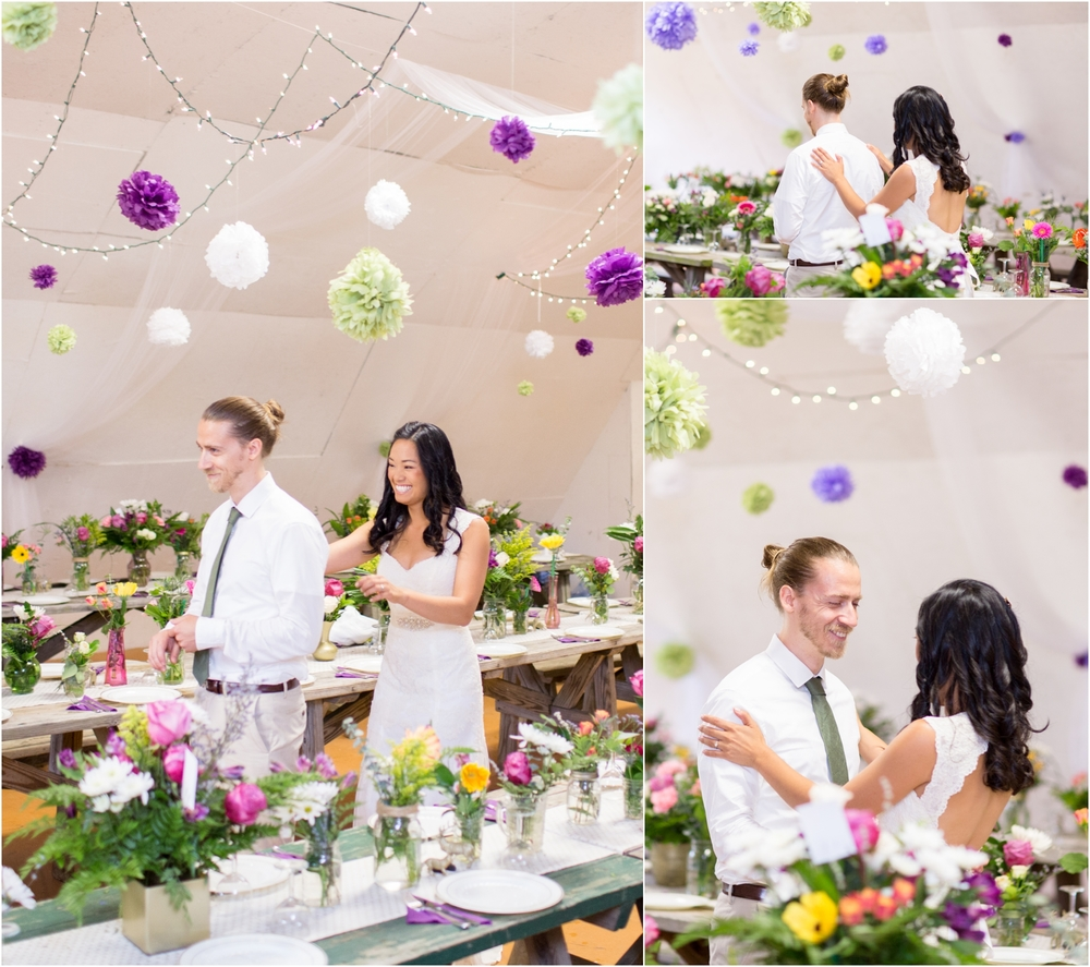 Austin & Dana shared their first look in their beautiful reception because of the rain. It was precious!