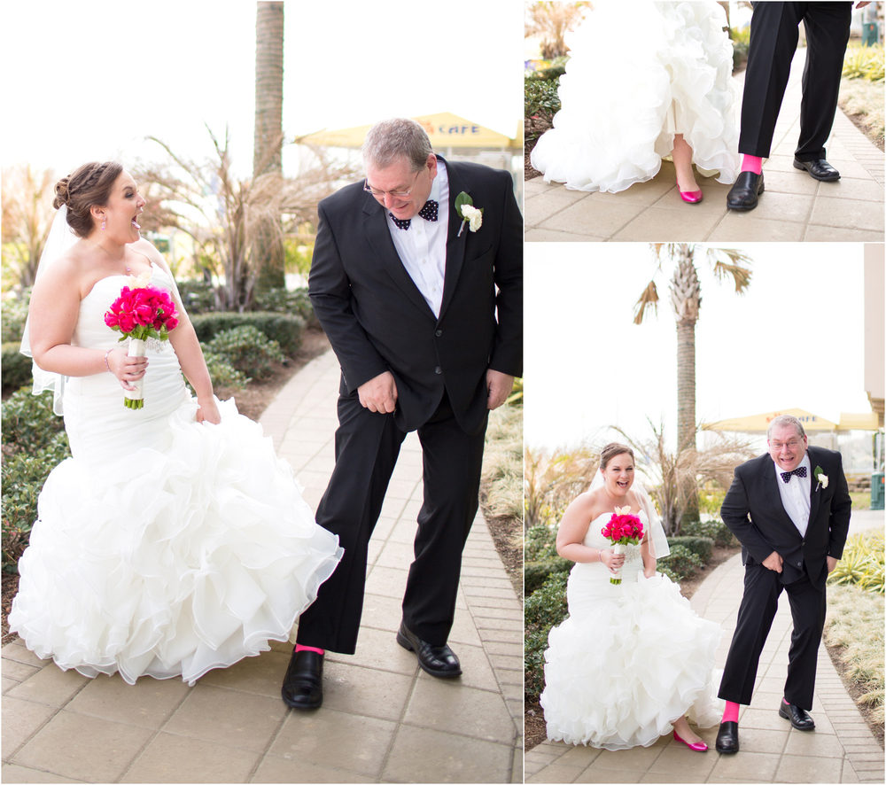 If you don't know Molly, her favorite color is pink. Her dad came out and surprised her by wearing hot pink socks for the wedding!! It was such a fun reveal moment!!