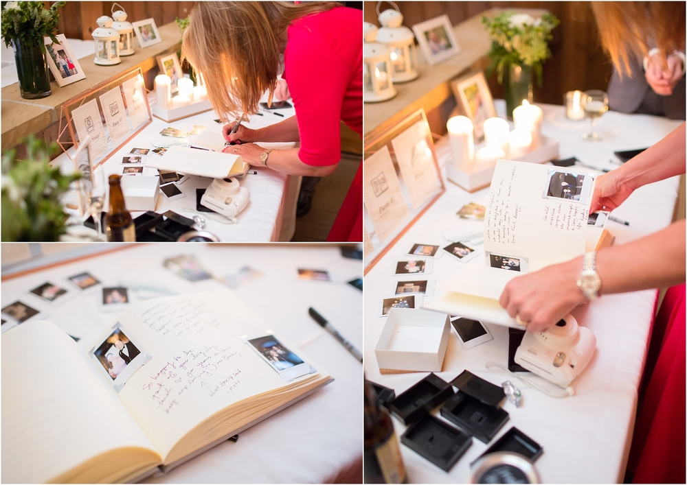 The guestbook was polaroids from the wedding day with a note next to each picture. Love it!