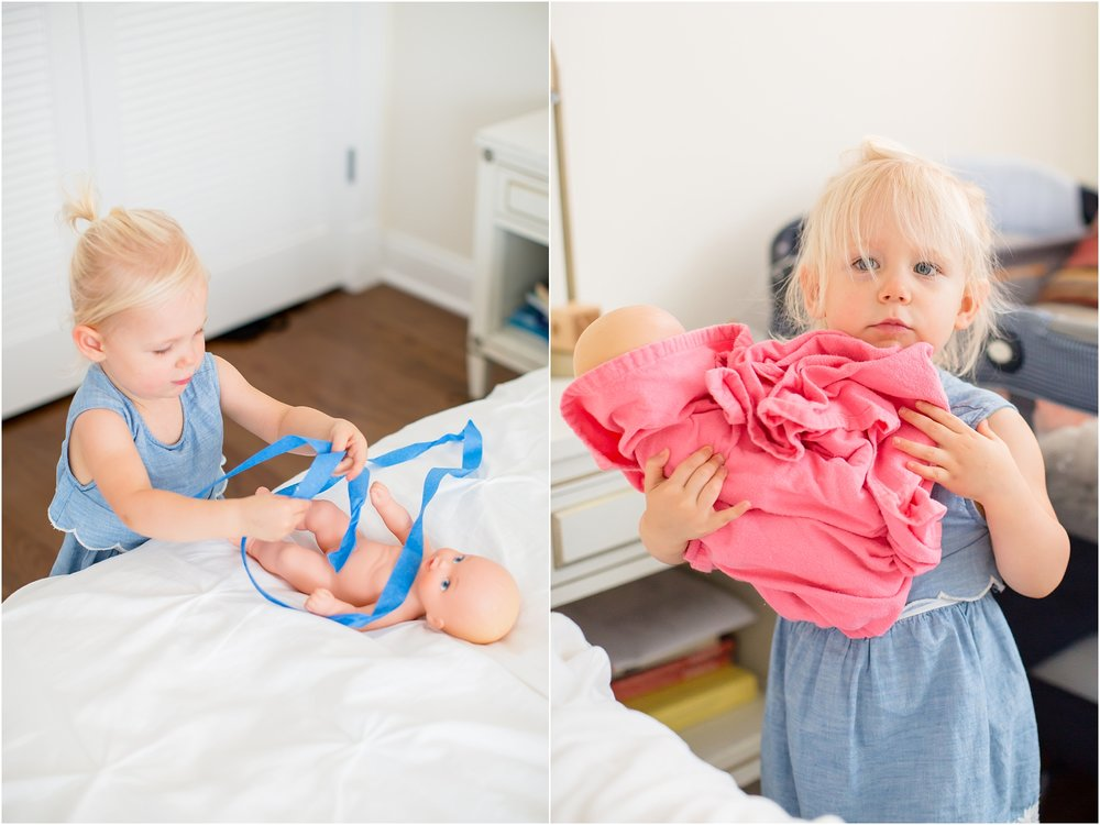 Adilynn likes to treat her doll like her own little baby. Fixing her boo boo's with tape and learning to swaddle. So adorable!