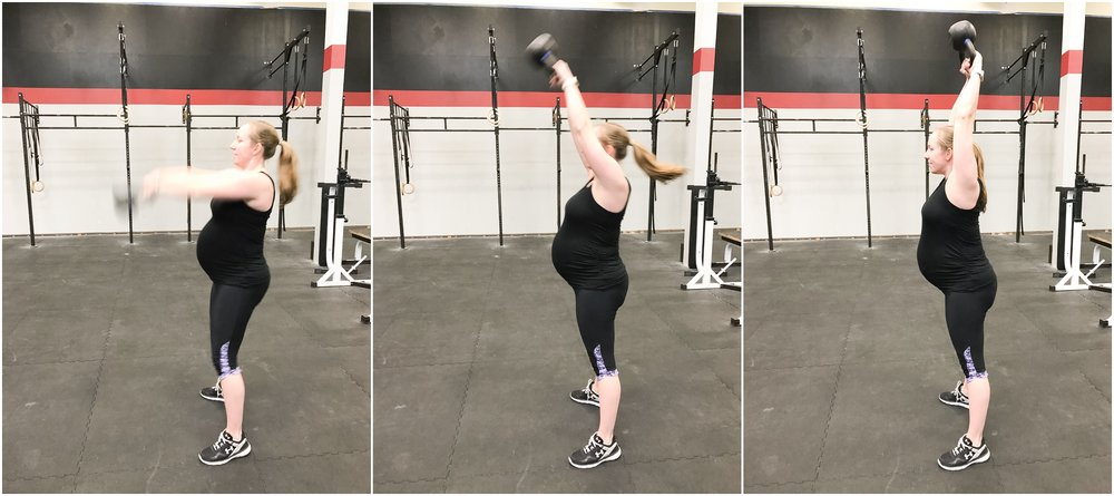 Kettlebell swings! In the first and second trimester I used the normal 35lbs but in the third trimester I used 25lbs.