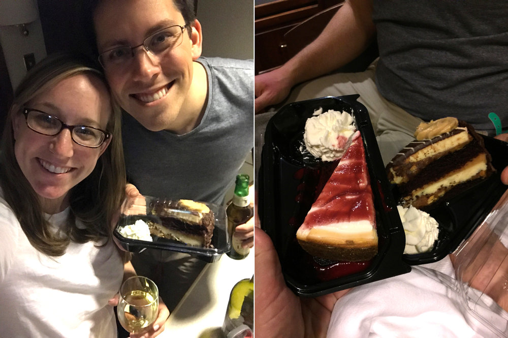 Celebrating Valentine's Day in the hospital! Thanks for the cheesecake + wine delivery mom!