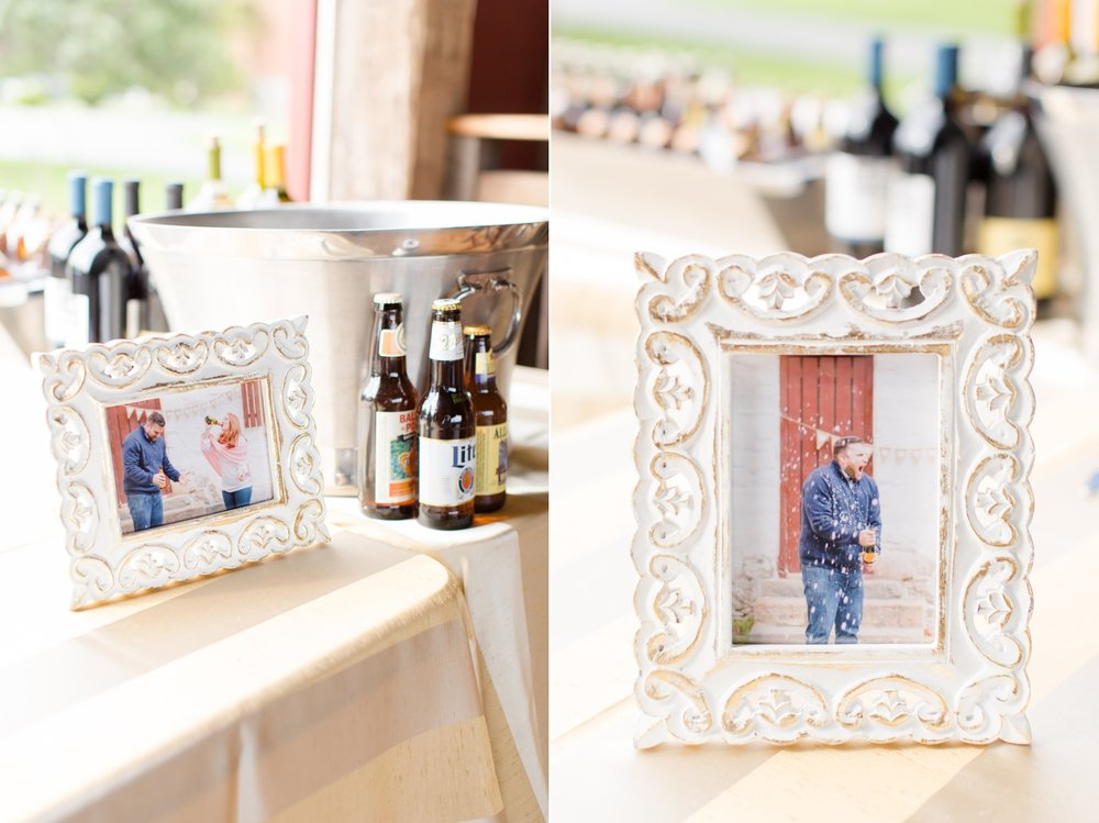 These pictures were from   their engagement session   where they popped open a bottle of champagne and it spilled ALL over Mike!! I love that they framed it for their wedding and had it at the bar!