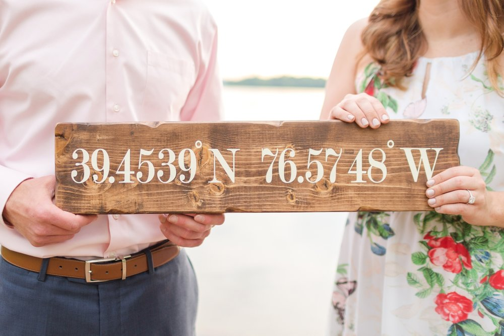 The coordinates to where Tommy proposed at Loch Raven!