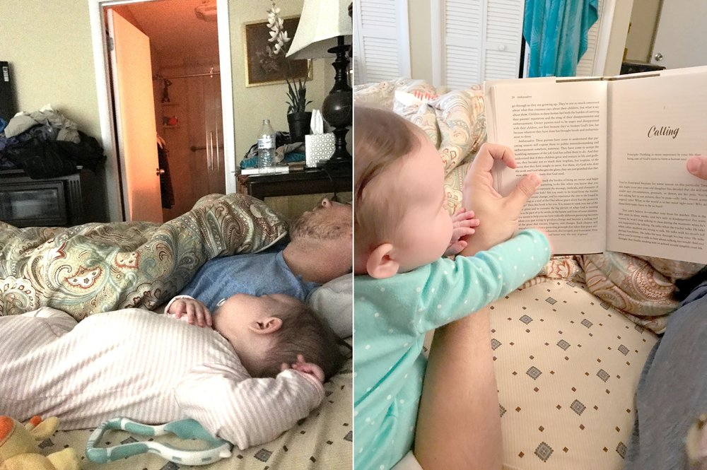 Cozy morning naps and reading together. This   Parenting   book we started is so good!