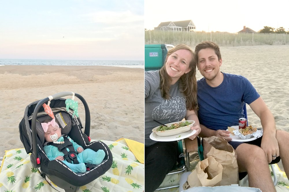 Last night, Chipotle on the beach! And a beautiful sunset.