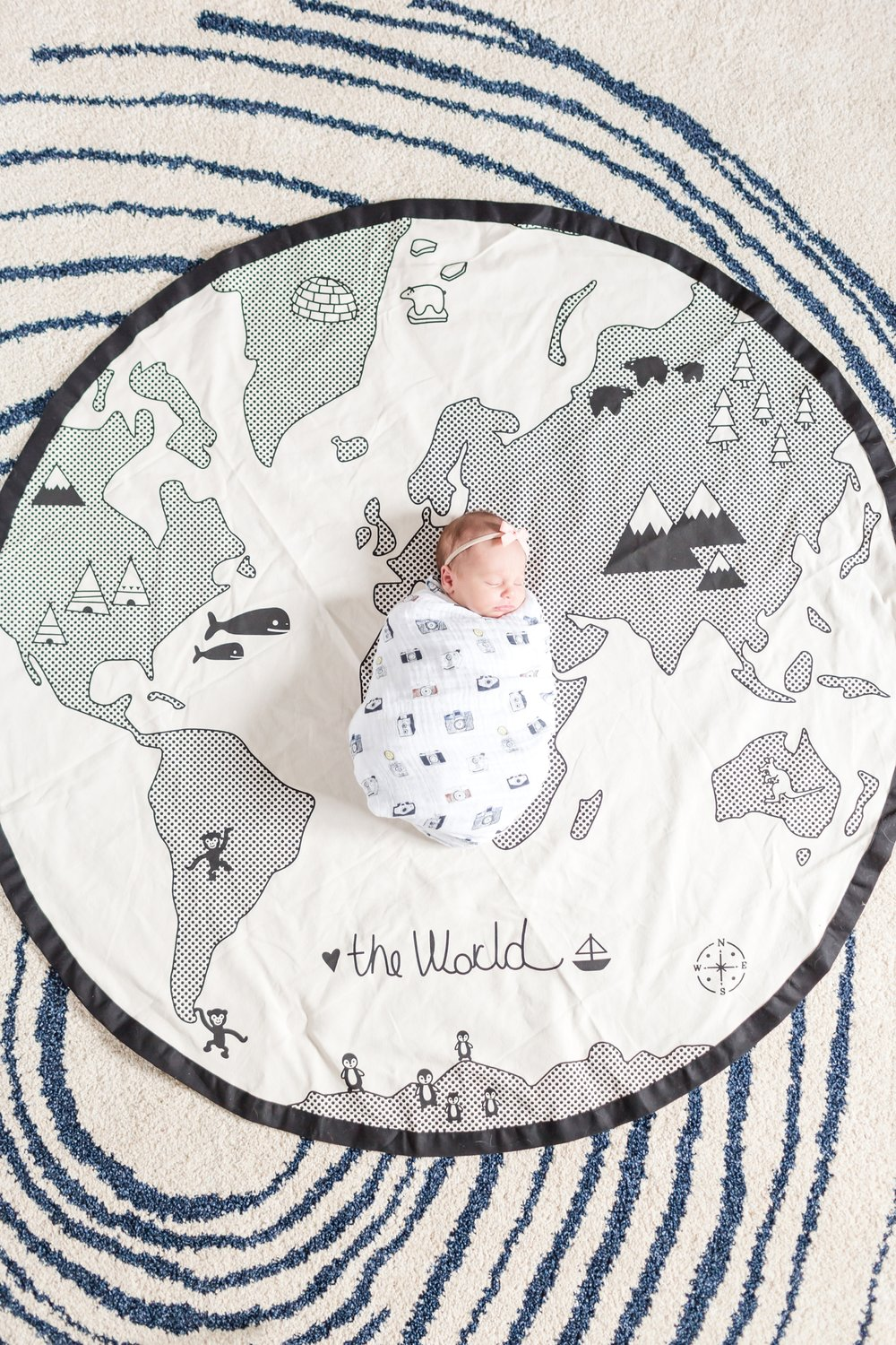 Love this playmat!! Fits perfectly with the travel nursery theme.