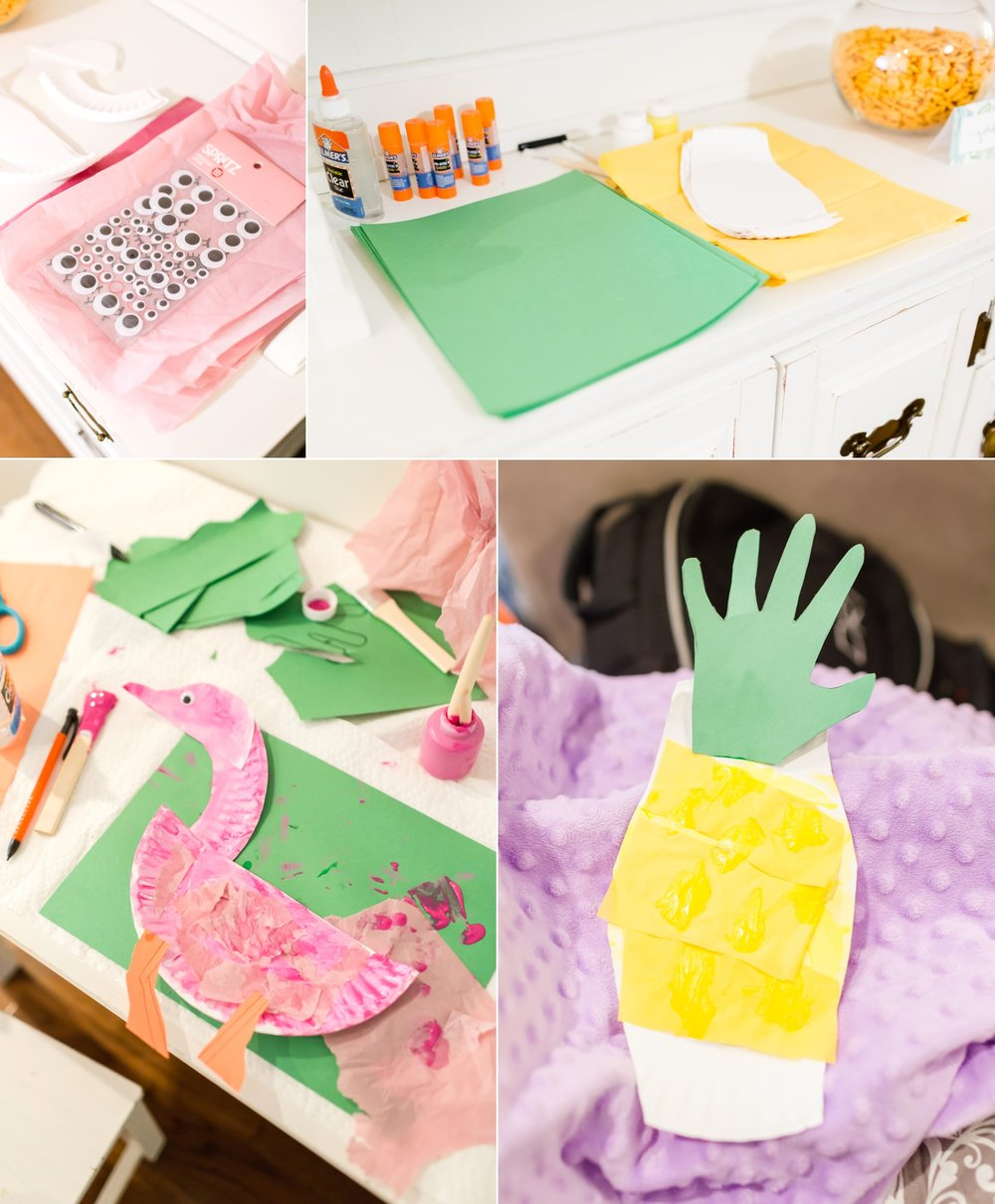 A fun little craft for the kids! They made cute paper plate flamingos and pineapples.