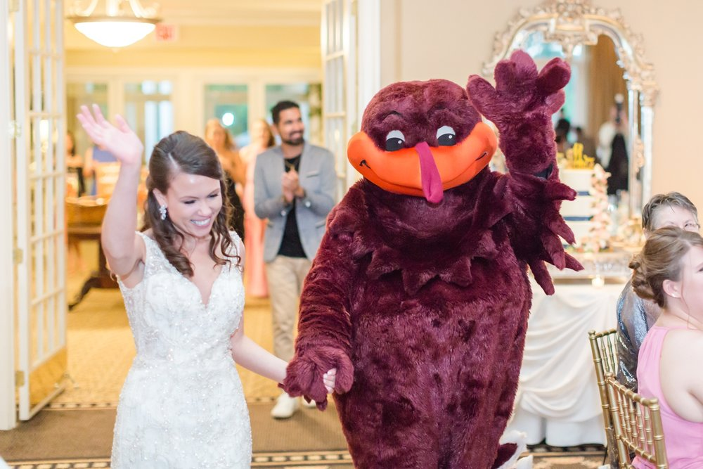 The Hokie Bird came to the wedding! What a fun surprise!