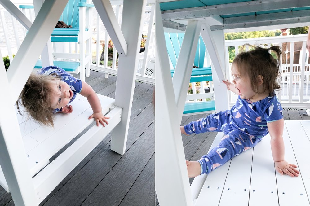 This girl is a monkey! She loved climbing on the bottom part of this outdoor table.