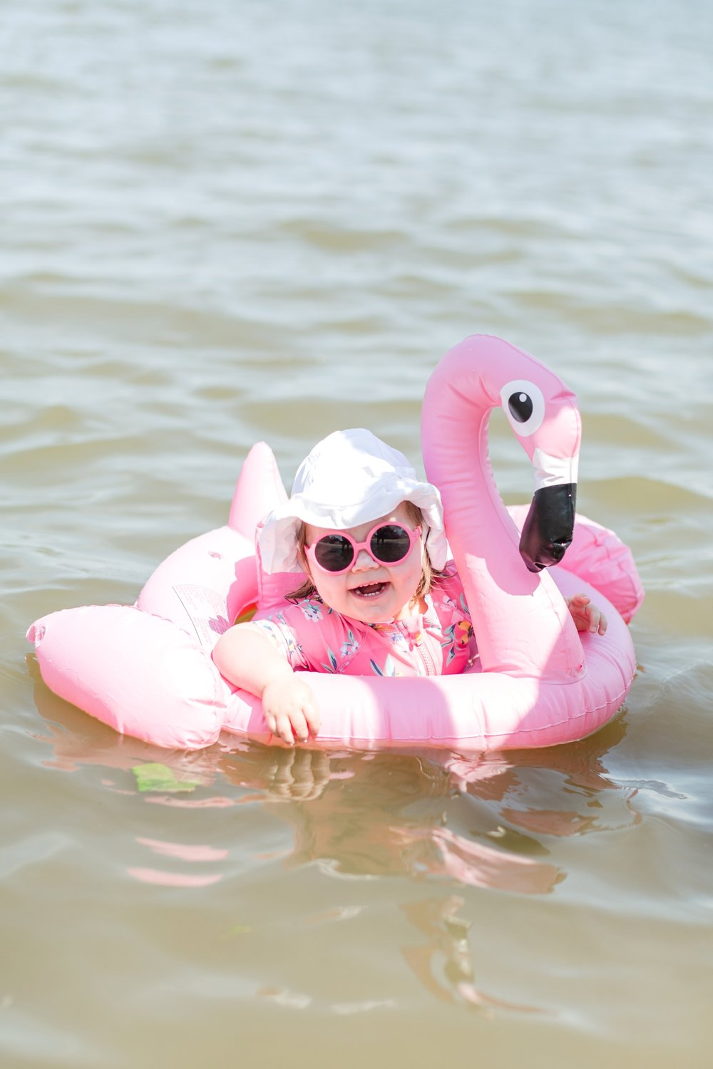 You may remember pics of Pay in the flamingo from   our Rehoboth trip last summer  ! She loves this floatie!