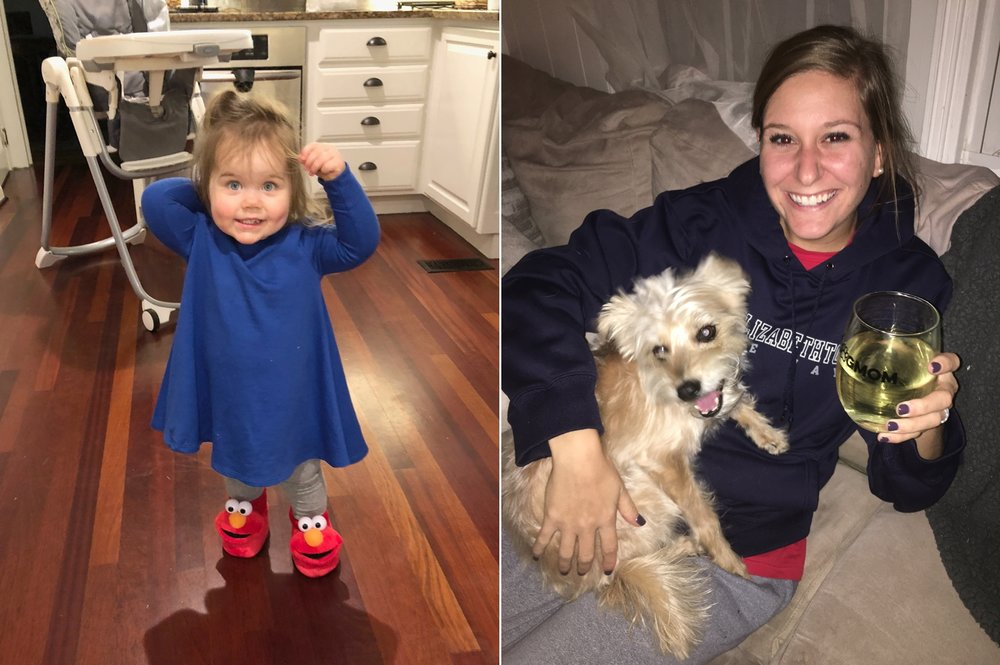 Payton got new Elmo slippers at Kay Kay's! And our sweet neighbor's Maddy and Adam watched Sadie while we were in the hospital. She clearly had an amazing time with them!