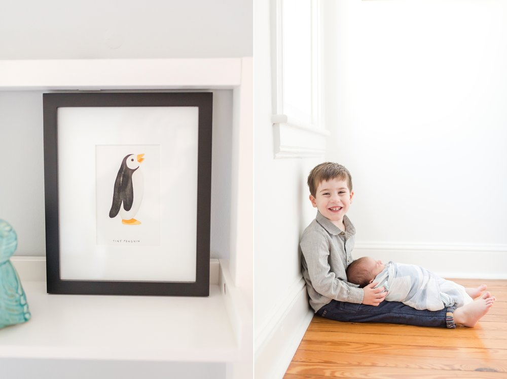 When Sarah was pregnant, Abram thought that in the ultrasound picture of Caleb he looked like a penguin. So this adorable print of a penguin sits in his nursery since that is what Abram called him throughout Sarah's pregnancy. So adorable!!