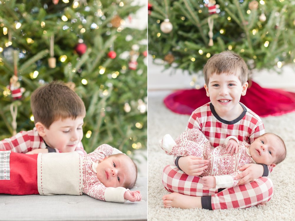 We had to get a few pics in front of the Christmas tree in cozy Xmas pj's since Caleb is a December baby!