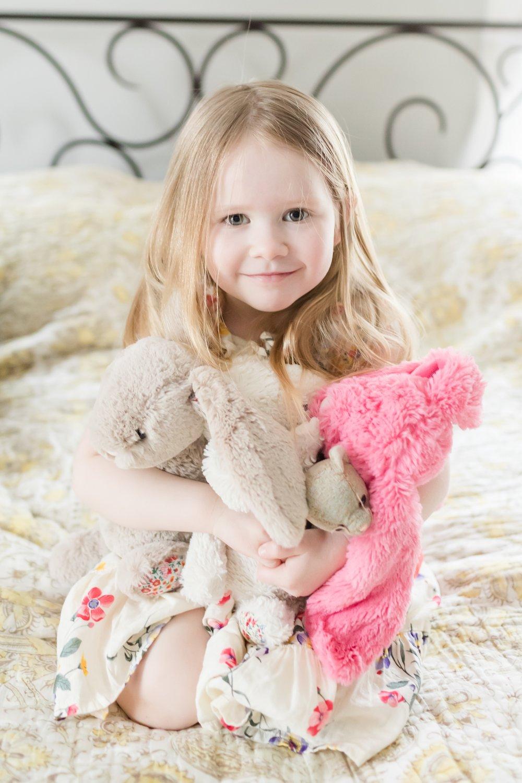 Evelyn loves her bunnies!