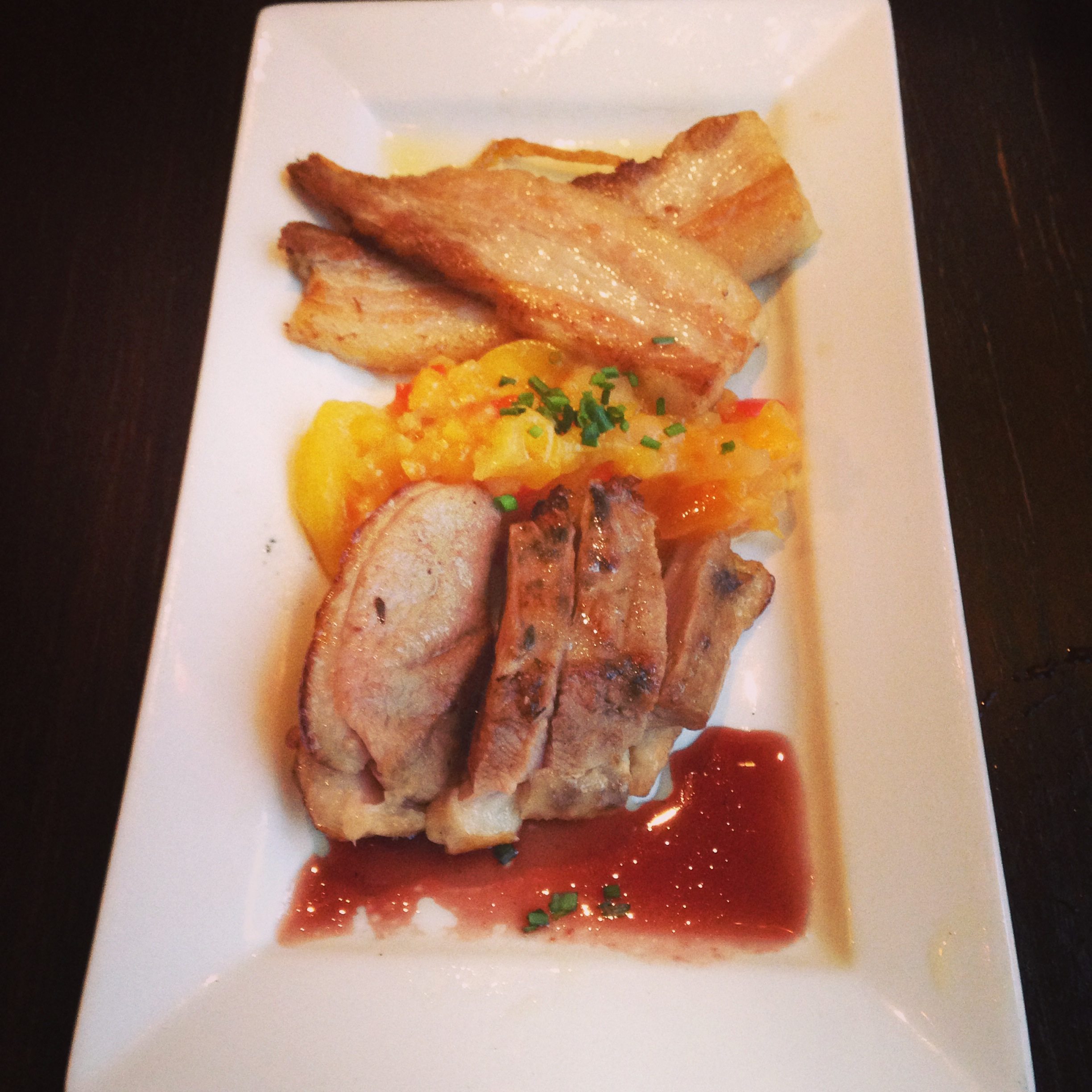 We enjoy dining family style and trying a couple of things on the menu. Our starter - HouseSmoked Duck & Pork Belly. The duck was extra amazing! I love duck!