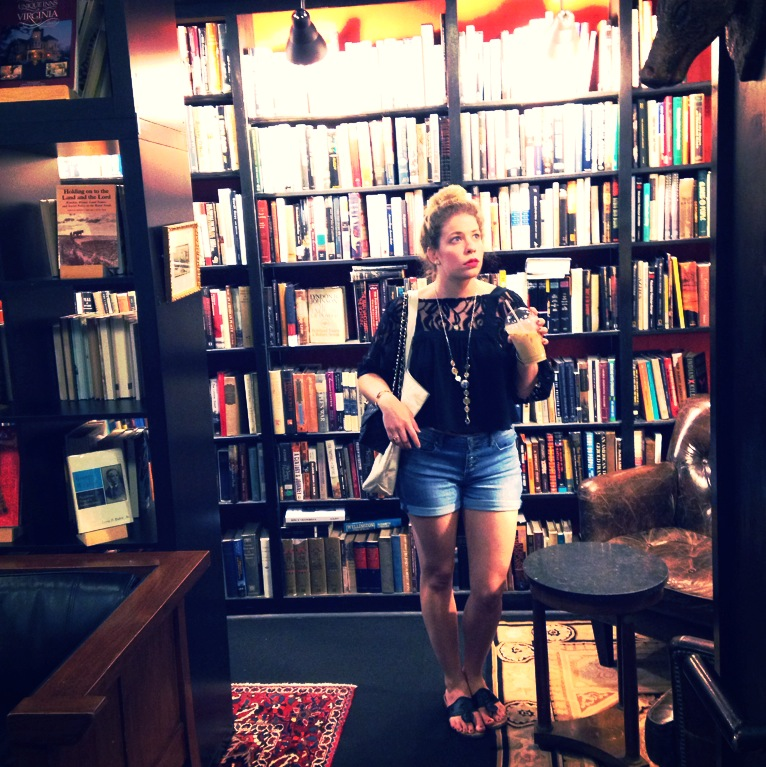 At Battery Park Book Exchange wearing a black, cropped boho top by Free People and my favorite denim shorts by Jessica Simpson paired with jewelry of my own design.