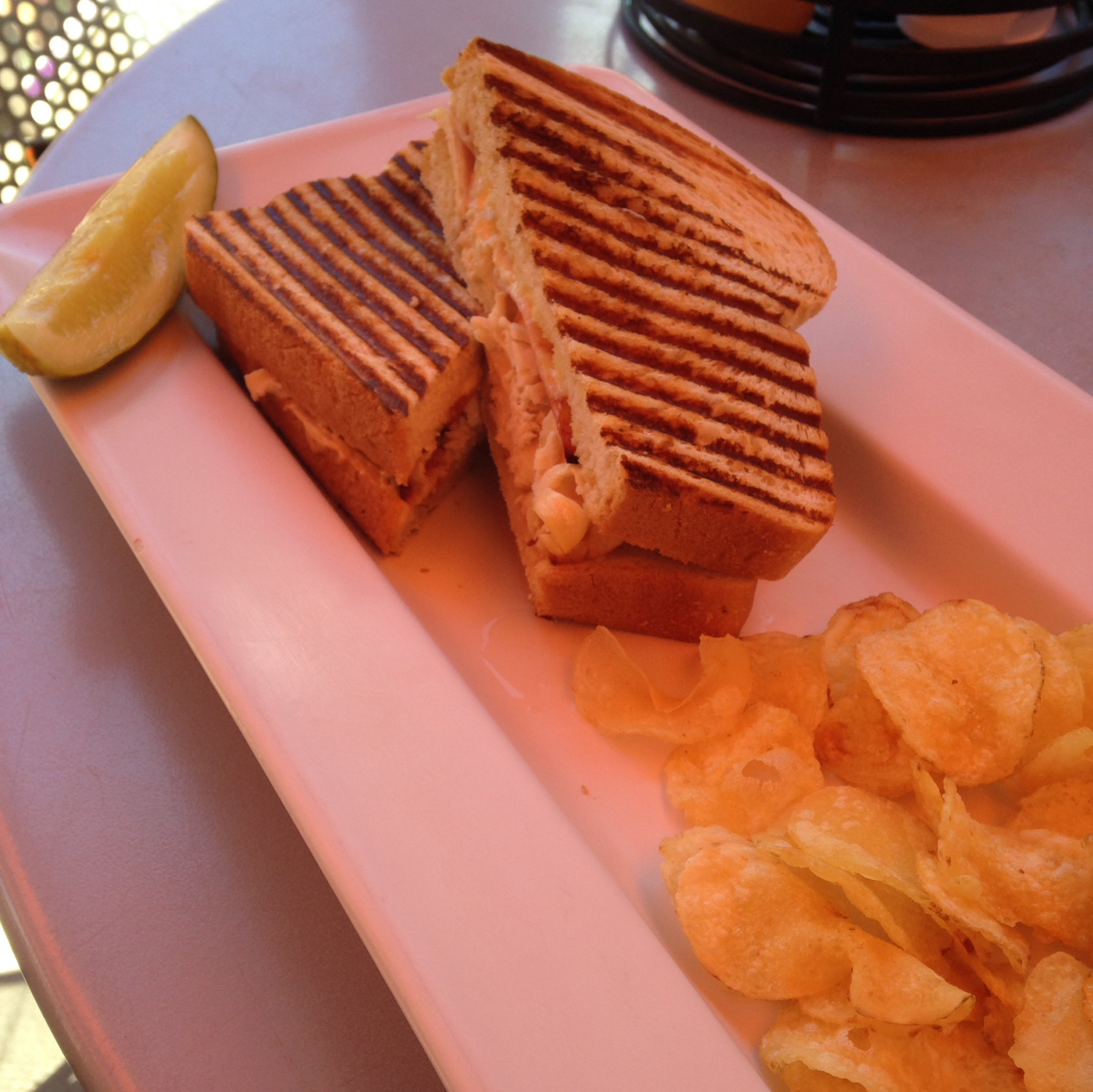 Lunch at Trio - Cordon Blue hot pressed panini with chicken, ham, swiss cheese and dijon aiolo.