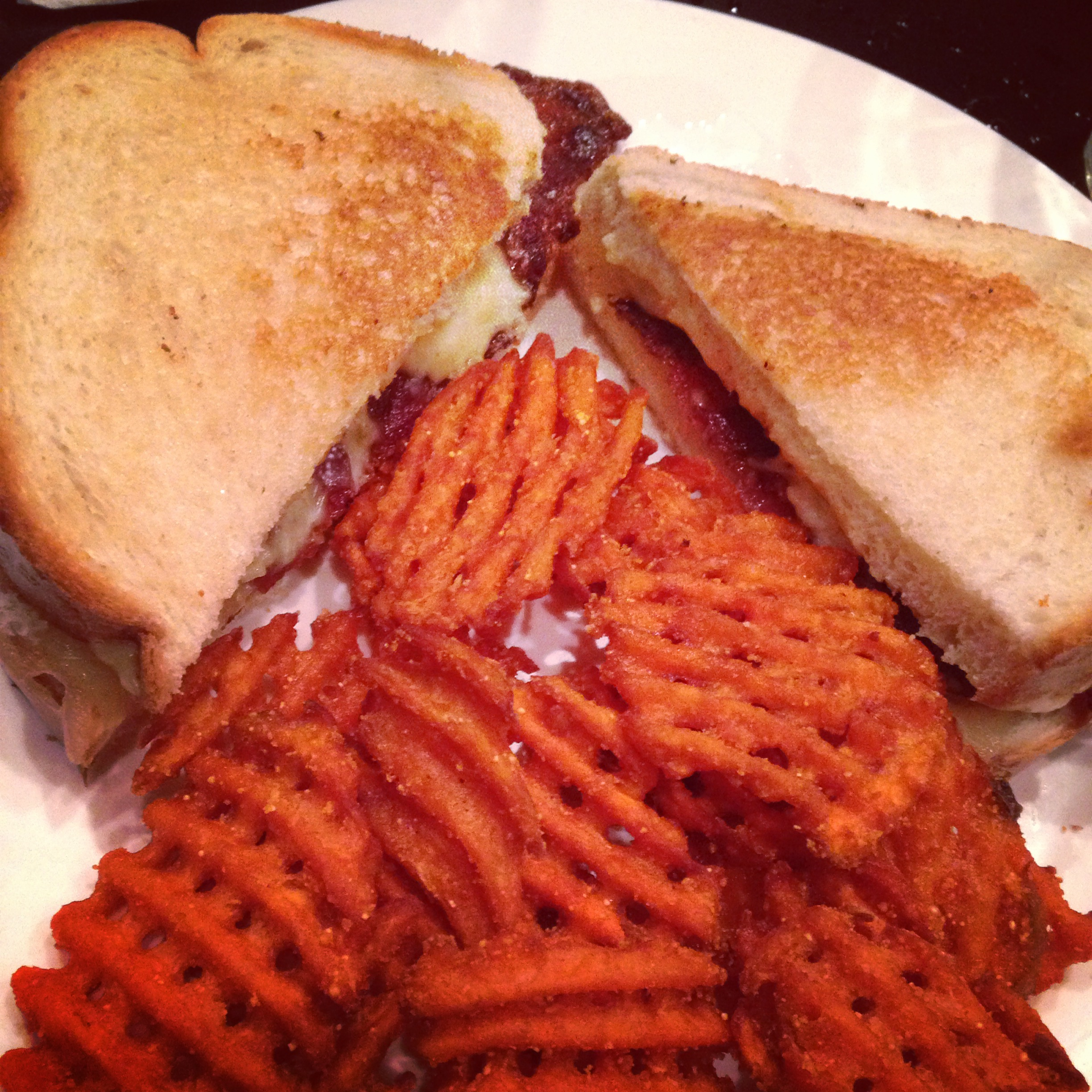 The grilled cheese of the week - This time, it was a crab meat and bacon paring with pepper jack cheese on fresh sourdough bread. Throw in some sweet potato fries and it was fabulous!
