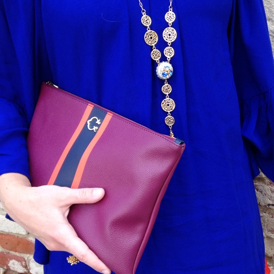 Details - clutch by C. Wonder, necklace by my own design, JoLeigh Designs.