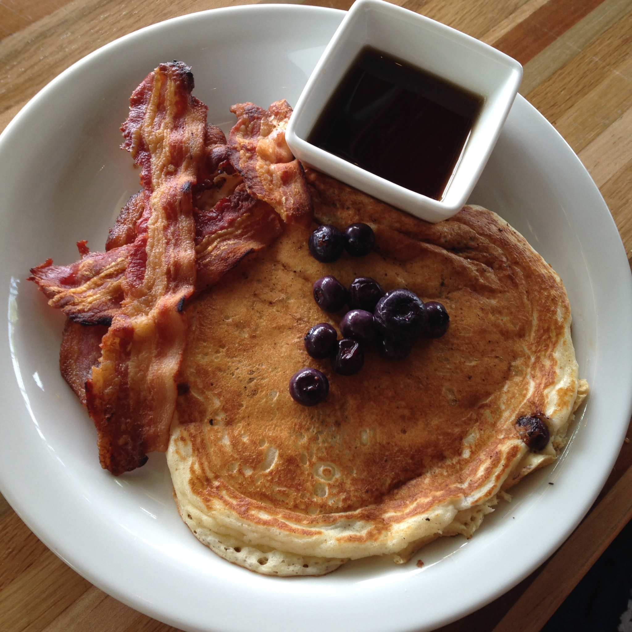 The Flying Squirrel - blueberry pancake, bacon, sweet syrup.