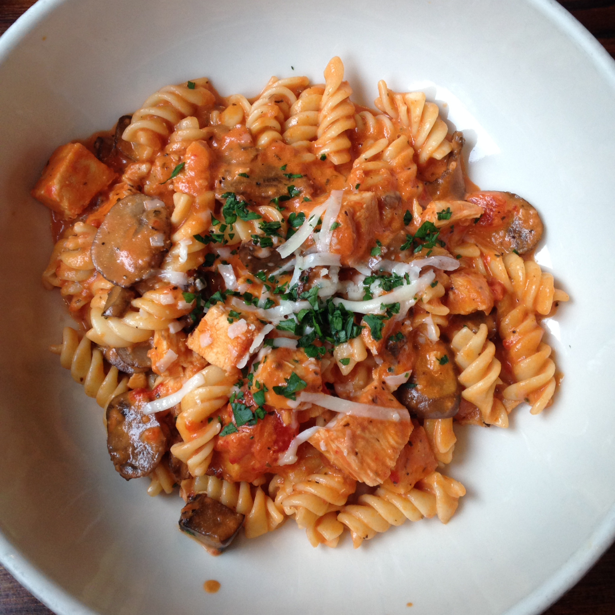 Tony's Pasta - Chattanooga, TN - Fusilli - grilled chicken, wild mushrooms, roasted red pepper cream sauce.