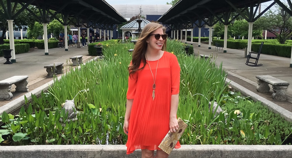 anthropologie orange swing dress 1