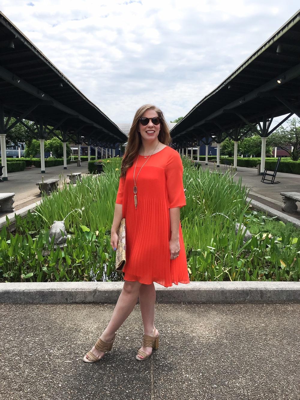 anthropologie orange dress swing