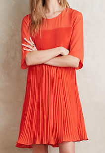 anthropologie orange swing dress