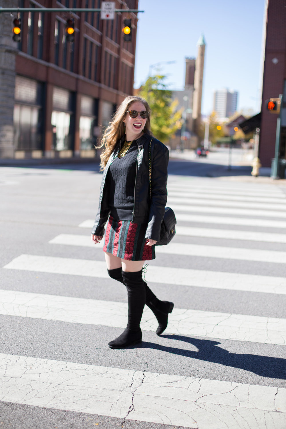 These black suede thigh high boots are one of my new favorite winter items. Paired with a leather jacket, light sweater, and fun lace skirt, they make the perfect comfortable, casual, cute winter outfit.