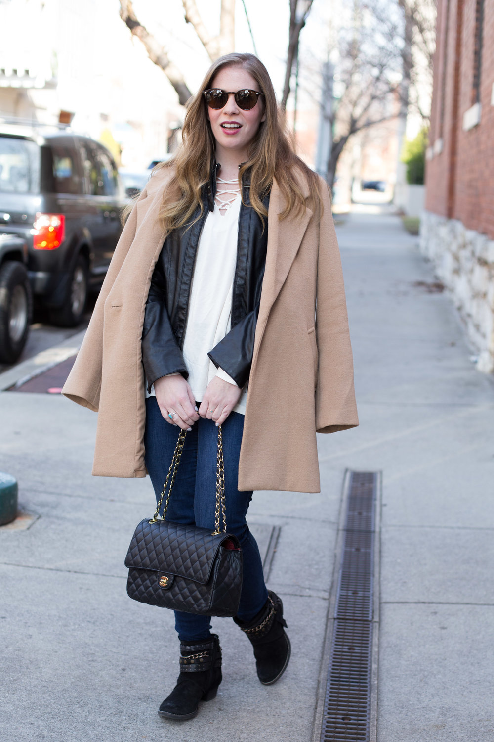 I can't get enough winter weather layering basics, like this leather jacket, overcoat in the perfect shade of camel, and simple blouse with lace-up detail.
