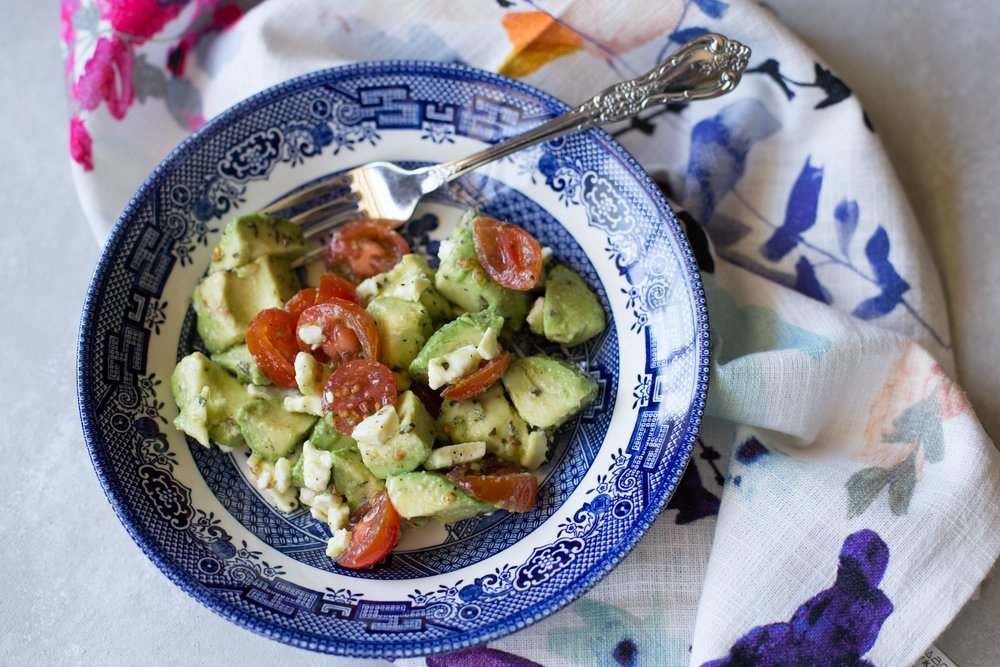 This quick and simple recipe for avocado and feta salad makes a perfect fresh summer side dish or refreshing snack.