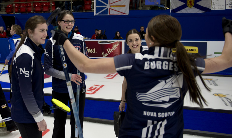 From left, Nova Scotia's Kristin Clarke (the team's third), skip Mary Fay, lead Janique LeBlanc and second Karlee Burgess. (MICHAEL BURNS / Curling Canada)