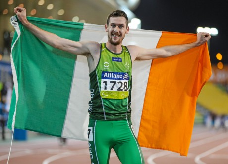 30 October 2015; Ireland's Michael McKillop, from Glengormley, Co. Antrim, celebrates after coming first in his Men's 1500m T37 final with a time of 4:16.19. IPC Athletics World Championships. Doha, Qatar. Picture credit: Marcus Hartmann / SPORTSFILE *** NO REPRODUCTION FEE ***